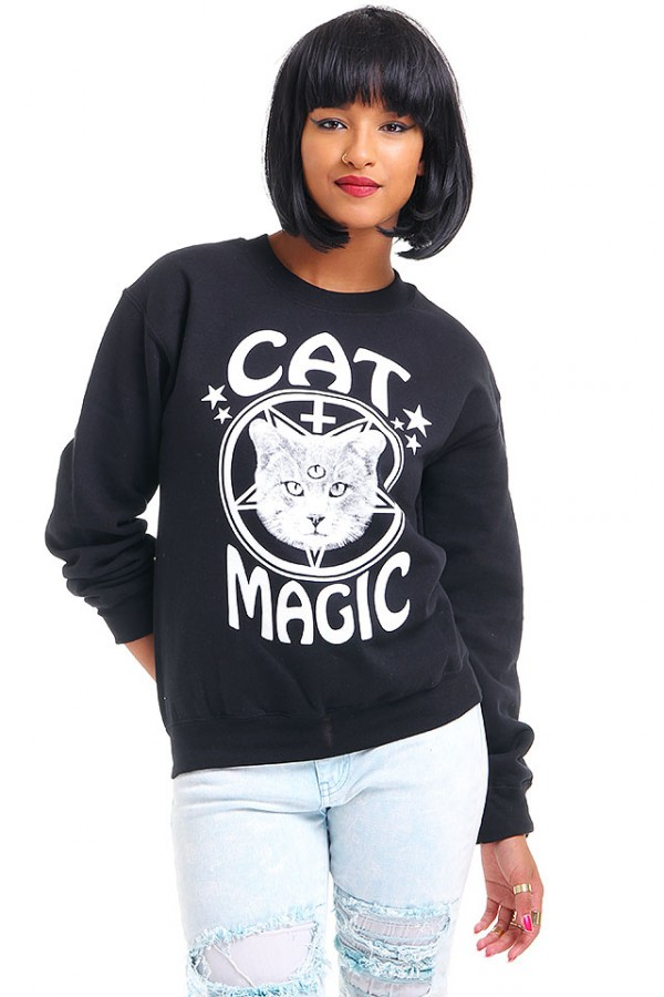 Svart Sweatshirt - Cat Magic
