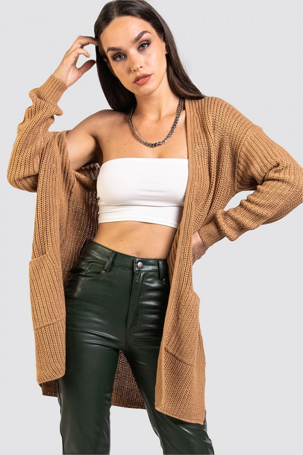 Stickad Cardigan - Knitted Spiced Camel