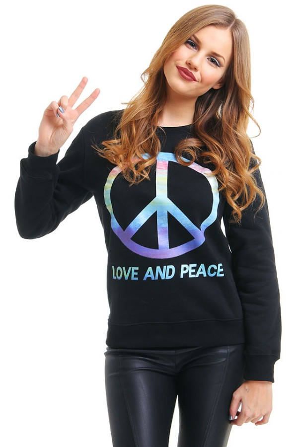 Svart Sweatshirt - Love And Peace