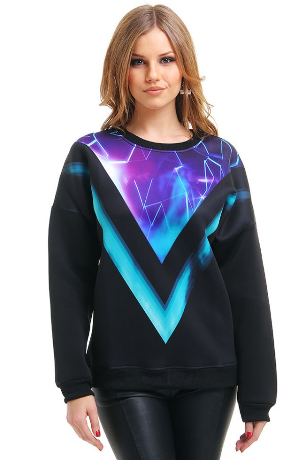 Svart Sweatshirt - Purple Prisma