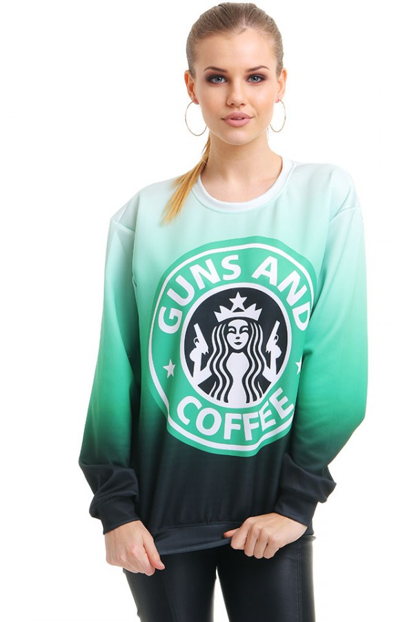 Cool Sweatshirt - Guns And Coffee