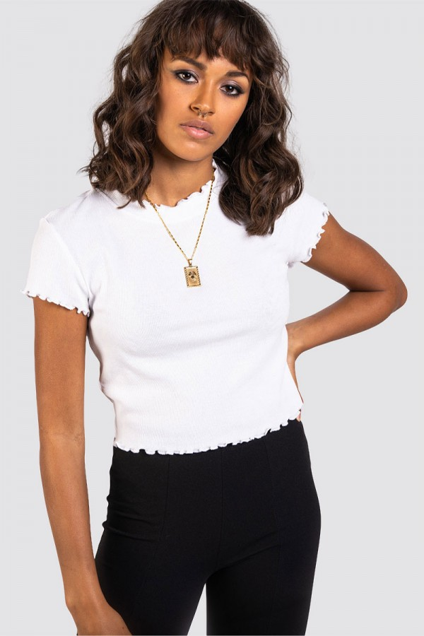 Ribbad Topp - Crop Tee Frill White