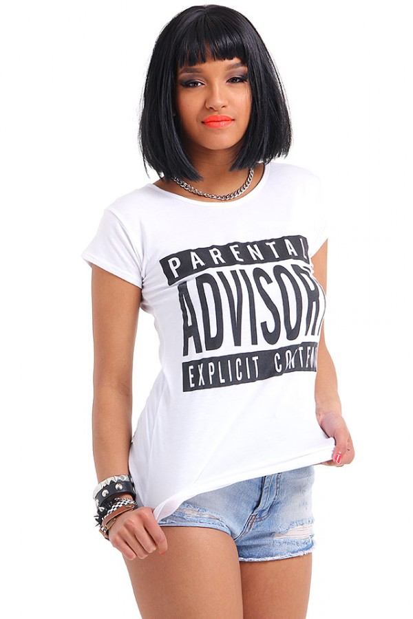 Vit T-shirt - Parental Advisory