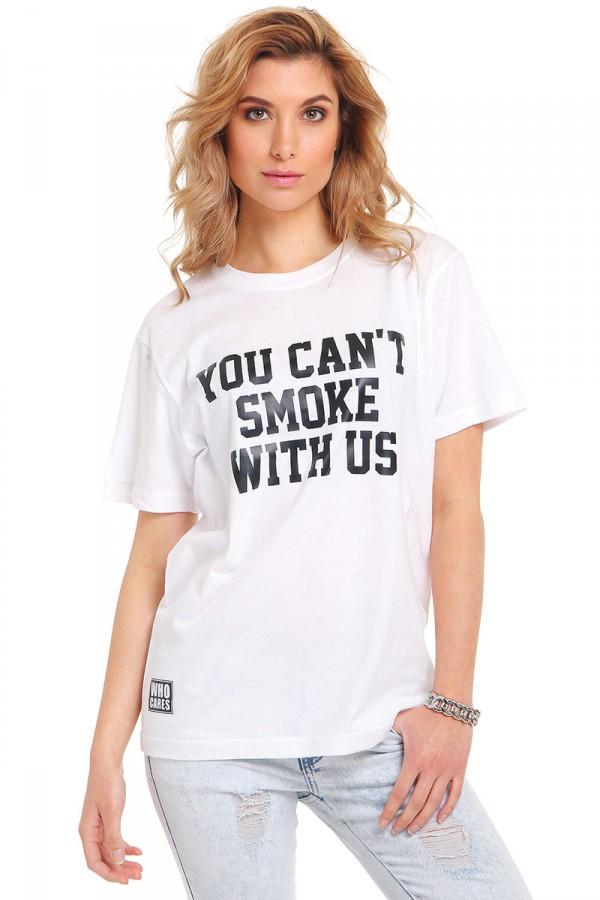 Vit T-Shirt Med Tryck - You Can't Smoke With Us