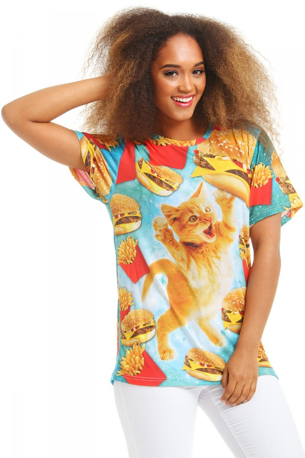 Cool T-Shirt - Fast Food Cat