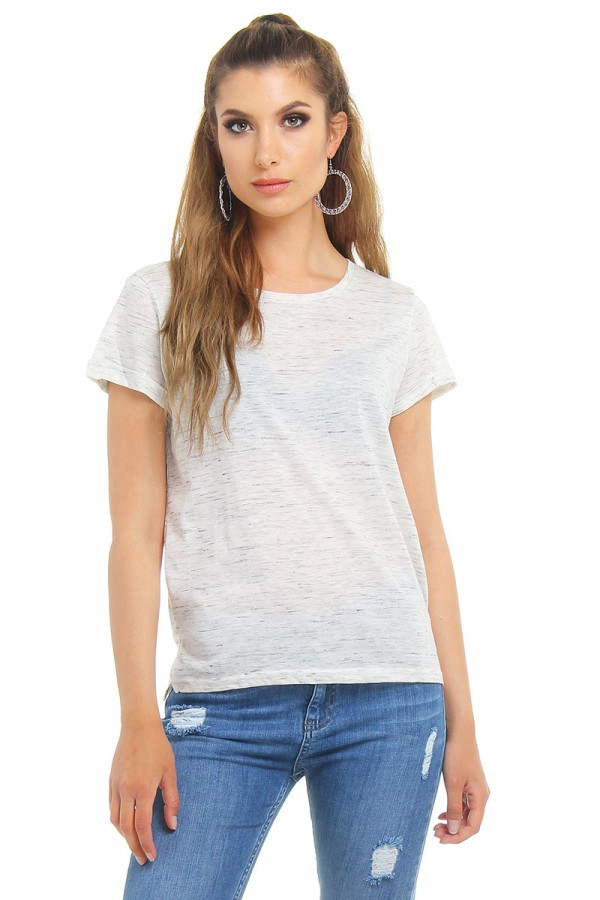 Basic Tee - Cream Melange
