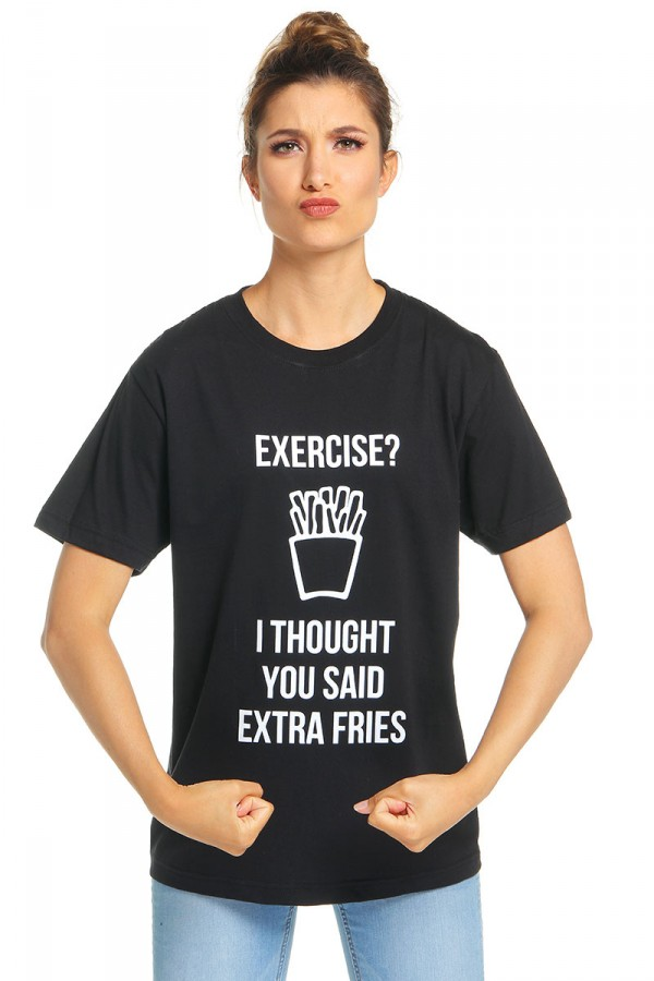Svart T-Shirt - Extra Fries