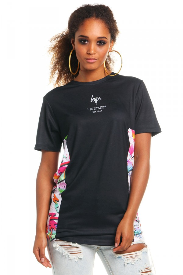 Oversize T-Shirt -Black Retro Palms