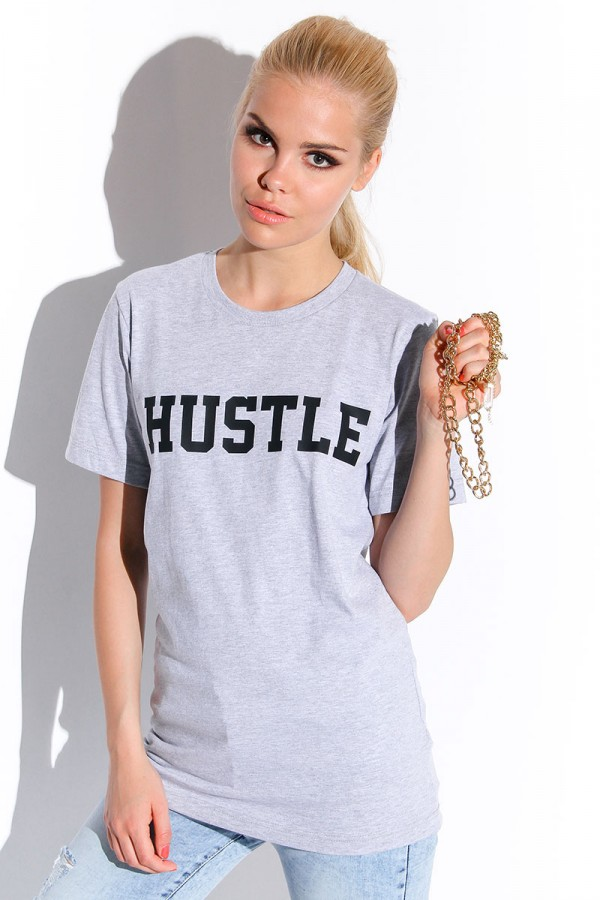 Grå T-shirt - Hustle