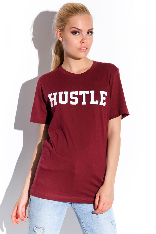 Vinröd T-shirt - Hustle