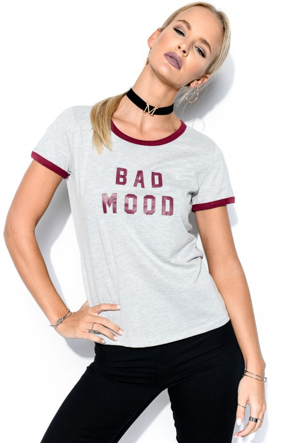 Grå T-Shirt - Bad Mood