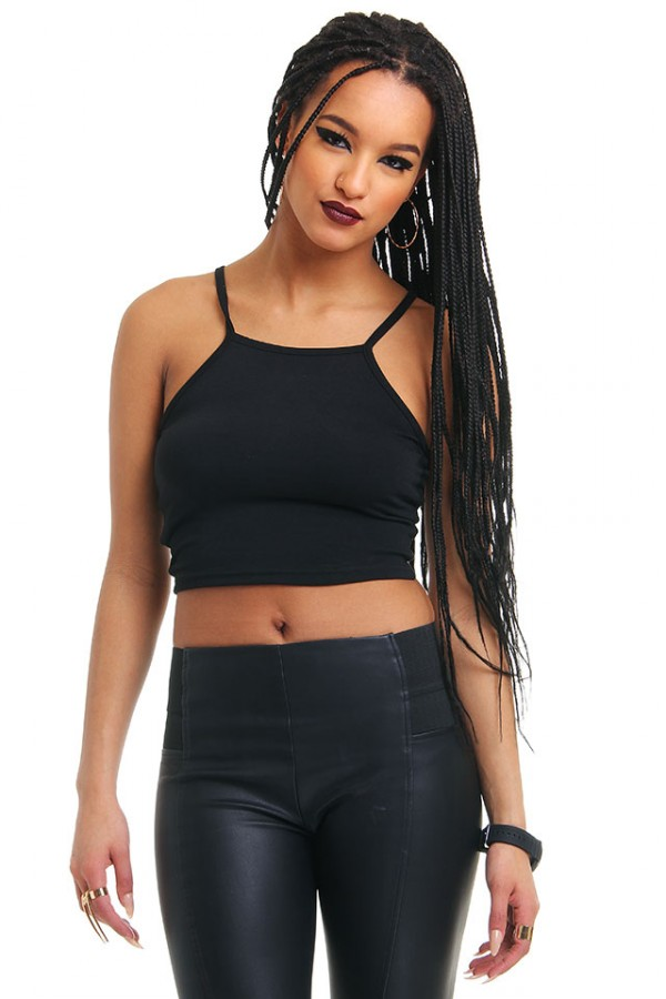 Svart Crop Top - String