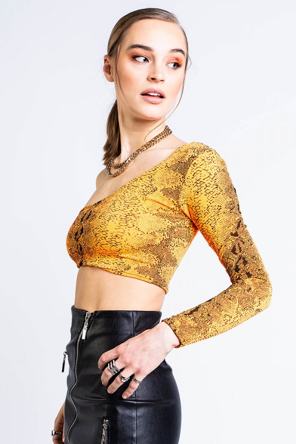 Crop Top - Cut Shoulder Raw Orange