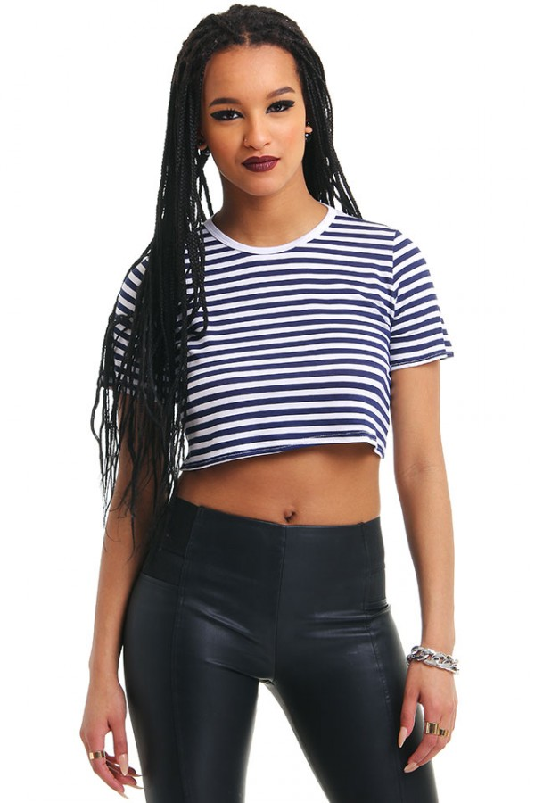 Crop Top - Navy Panels