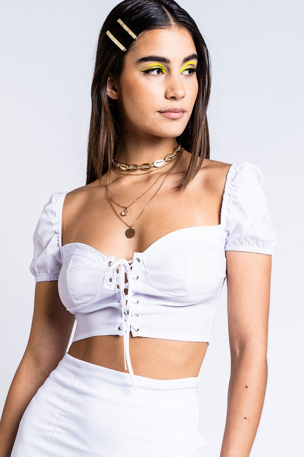 Topp - Laced Up Babe White