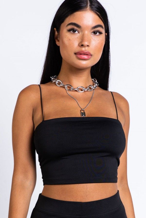 Recycled Spaghetti Strap Top - Hottest Black