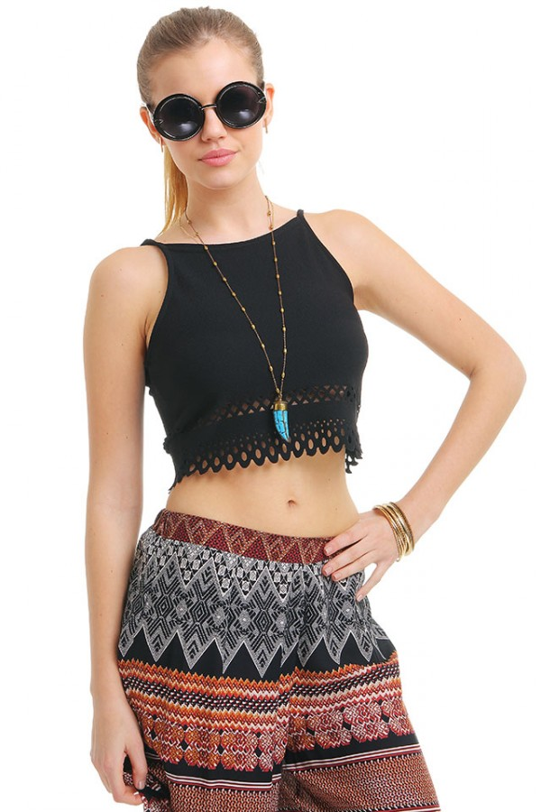 Svart Crop Top - Lazer Black