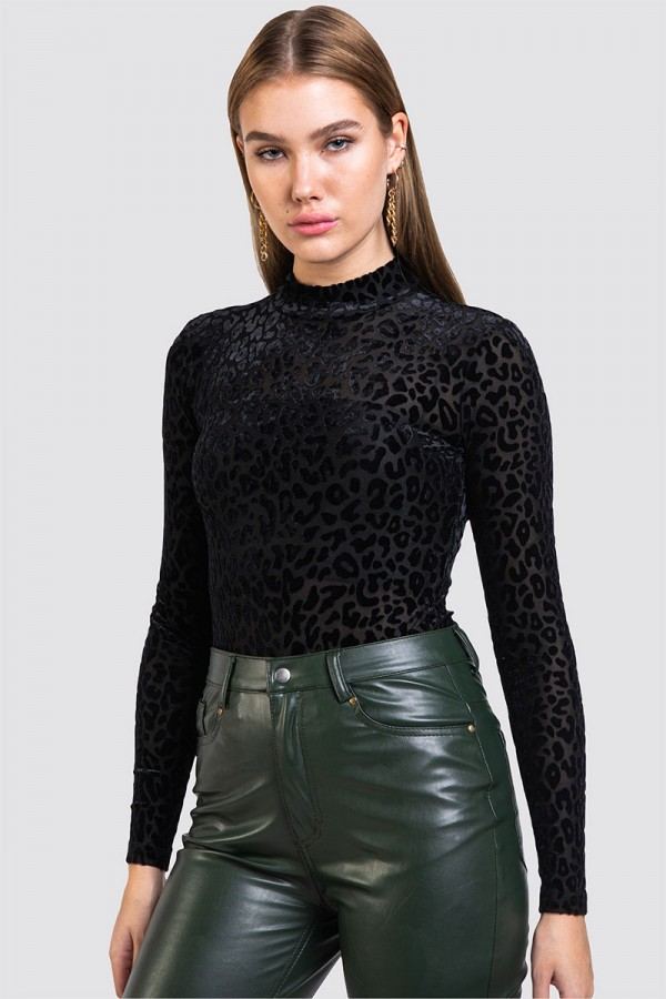 Leopardmönstrad Body - Velvet Black