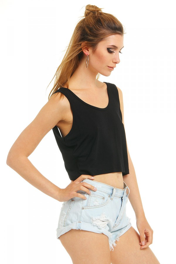 Svart Pösig Crop Top - Best Black