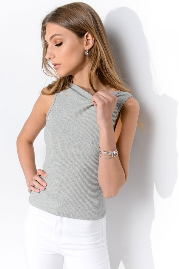 Ribbad Top - Grey Ulani