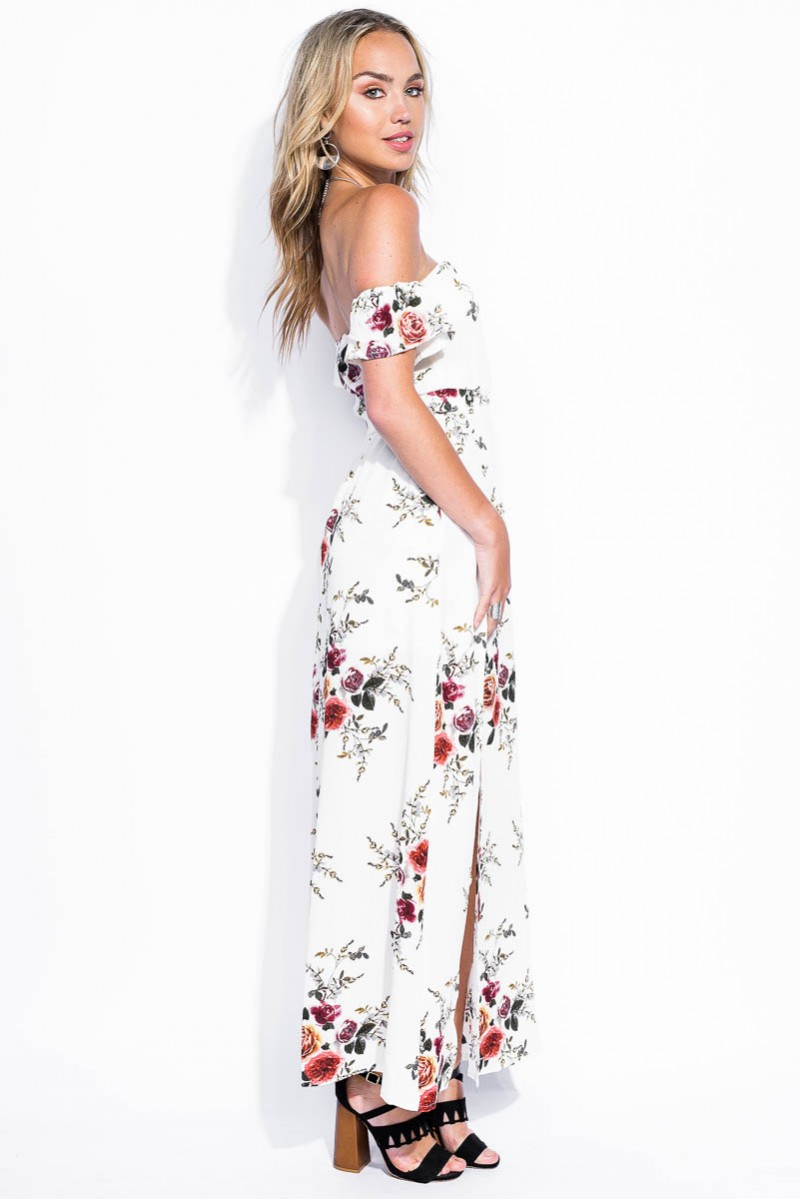 Blommig Klänning Off Shoulder Wild Rose | madlady.se